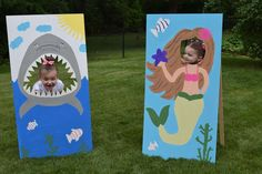 "DIY shark and mermaid ""face in hole"" photo props, painted plywood – Party Ideas Ocean Party, Shark Party, Beach Party, Little Mermaid Birthday, Mermaid Birthday Party Ideas, Birthday Ideas, Mermaid Parties, Mermaid Party Games, Under The Sea Party"