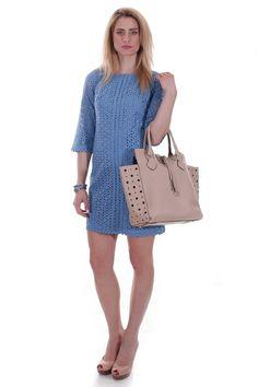 Eyelet blue dress