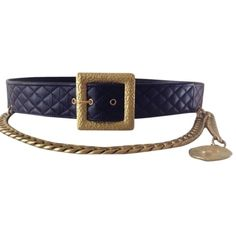 Pre-owned Chanel Rare Vintage '94a Black Leather Diamond Quilted Belt ($650) ❤ liked on Polyvore featuring accessories, belts, black, chanel, black buckle belt, 100 leather belt, leather buckle belt and vintage black belt