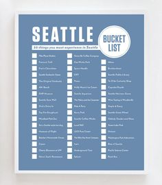 Seattle Bucket List Wall Art Print by OwlYouNeedIsLoveShop on Etsy