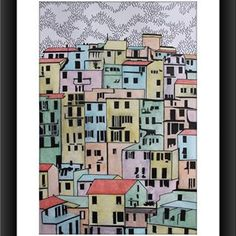Manarola (cm.20x30 tecnica mista su cartoncino) #manarola #cinqueterre #drawing #illustration #painting #art #design #artist