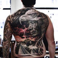 Tattoo artist Martin Sjöberg, color and black&grey authors surrealistic realistic tattoo Badass Tattoos, Body Art Tattoos, Sleeve Tattoos, Back Tattoos For Guys, Full Back Tattoos, Swedish Tattoo, Aztec Tattoo Designs, Mexican Tattoo, Surreal Tattoo