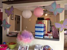 Butterfly theme decor for indoor or outdoor party.