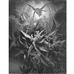 "Gustave Dore - Illustration to Paradise Lost by John Milton - 1 - Michael Casts out all of the Fallen Angels - ""Him the Almighty Power Hurled headlong flaming from the ethereal sky"" Gustave Dore, Milton Paradise Lost, Saint Dominique, Dom Quixote, Angels And Demons, Fallen Angels, Heaven And Hell, Religious Art, Dark Art"
