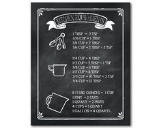 Kitchen Equivalents Chalkboard Print Kitchen Wall Art -Typography Housewarming Gift - Kitchen conversion print equivalent measurement poster