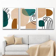 Abstract Set Of 3 Digital Prints Geometric Poster Green And Brown Art Scandinavian Art Geometric Pai Geometric Poster, Geometric Painting, Geometric Art, Abstract Wall Art, Art Vert, Blue Grey Walls, Grey Wall Art, Brown Art, Modern Artwork
