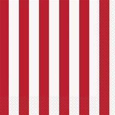 Ruby Red Striped Lunch Napkins 16ct - 324854 | Party-ify! #stripes #redstripes #napkins #lunchnapkins #circus #carnival