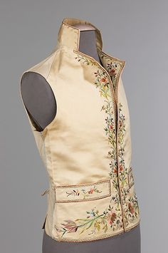 1800–1815 French Waistcoat in silk, linen, metal, cotton. Brooklyn Museum Costume Collection at The Metropolitan Museum of Art. Shoulder seam does not sit straight on shoulder line, usually sits back or forward. Stiffened collar to sit up.