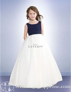 Sleeveless chiffon ball gown silhouette flower girl dress. Bodice available in multiple colors.