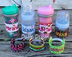 Personalized Sippy Cup Bottle Bands by daffedesigns on Etsy