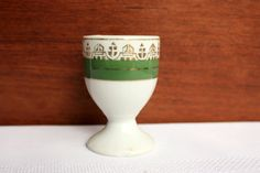 Vintage Egg Cup with Gold Trim and Green Band - Porcelain Egg Cup - Gold Trim Egg Cup - Green and Gold Egg Cup by BabisTreasures on Etsy
