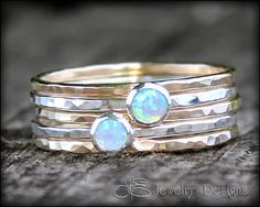 5 RING OPAL SET Solid Sterling Silver opal by LEJewelryDesigns, $84.00