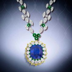 This is a phenomenal scintillating natural beauty. carats Natural Burma sapphire set as a brooch or pendant with yellow diamonds and emeralds with an emerald and diamond necklace. Weird Jewelry, Modern Jewelry, Silver Jewellery Online, Diamond Jewelry, Diamond Necklaces, Sapphire Jewelry, Initial Pendant Necklace, Stone Necklace, Bling Bling