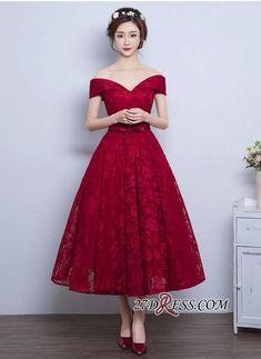 2017 Burgundy Off-the-Shoulder A-line Lace Vintage Tea-Length Prom Dresses_High Quality Wedding Dresses, Prom Dresses, Evening Dresses, Bridesmaid Dresses, Homecoming Dress - 27DRESS.COM