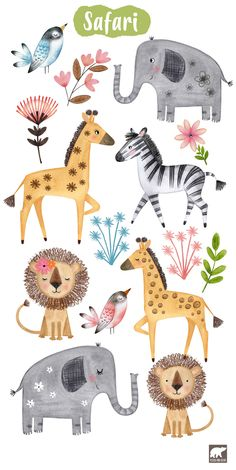 Hand painted African animals for nursery decor, scrap booking, party invitations and crafting projects. Cute Animal Drawings, Cute Drawings, Cute Illustration, Watercolor Illustration, African Animals, Tribal Animals, Safari Animals, Nursery Art, Nursery Decor