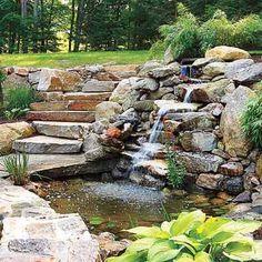backyard landscape design - Backyard Pond / Waterfall Landscape Design. from thisoldhouse.com