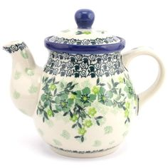 $38.99 Teapot 23 oz (0.65 L) Green Branches Polish pottery from slavicapottery.com