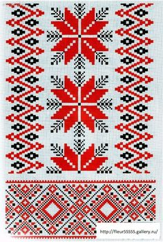 Red and Green cross-stitch Cross Stitch Borders, Cross Stitch Charts, Cross Stitch Designs, Cross Stitching, Cross Stitch Embroidery, Embroidery Patterns, Hand Embroidery, Cross Stitch Patterns, Motifs Blackwork