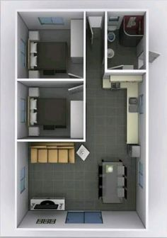 2 Bedroom House Plans, Small House Floor Plans, Cottage Floor Plans, Sims House Plans, Small House Layout, House Layout Plans, Small House Design, House Layouts, Home Building Design