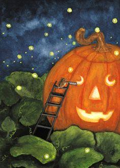 """""""Hamster, Halloween Fireflies and Pumpkin"""" par AmyLyn Bihrle"""