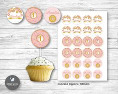 Donut Birthday Party! Cupcake toppers stickers first birthday ideas pink and gold theme
