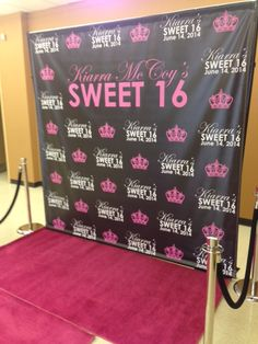 This is a step and repeat package we did for a Sweet 16 party. #Atlanta #stepandrepeat #VIP #carpet #stanchions #rental #event #sweet16 #hotpink #pink #birthday