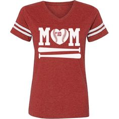 Mom! Your son is a star out on that baseball diamond. Wear a cool sporty tee with his number on it to all his games this year. This tee has baseball bats on it and a heart shaped baseball in place of the