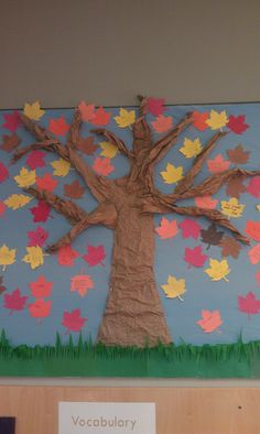 Autumn tree for bulletin board is made from crumpled paper grocery bags and dollar store craft paper Baby Room Activities, Children Activities, Autumn Activities, Art Activities, Classroom Fun, Classroom Displays, Classroom Activities, Carnival Decorations, School Decorations