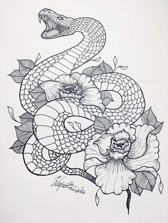 36 Best Snake And Flower Tattoo Designs & Meanings Snake And Flowers Tattoo, Flower Tattoo Drawings, Flower Thigh Tattoos, Tattoo Design Drawings, Flower Tattoo Designs, Art Drawings, Band Tattoos, Line Art Tattoos, Body Art Tattoos