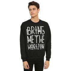 Bring Me The Horizon Tribal Logo Sweatshirt Hot Topic ($37) ❤ liked on Polyvore featuring tops, hoodies, sweatshirts, white sweat shirt, crew-neck sweatshirts, black sweatshirt, tribal print sweatshirt and black top