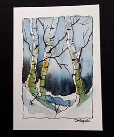 ACEO Original Watercolor Painting - by Watercolorist Jim Lagasse. Size: x Medium: Watercolor Sennelier Honey Based Paints Paper: Canson Paper ACEO Painting is signed and dated by artist on back. Watercolor Pictures, Watercolor Trees, Watercolor Sketch, Watercolor Landscape, Watercolor And Ink, Watercolor Paintings, Watercolours, Watercolor Christmas Cards, Painting Inspiration