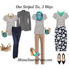 """MissusSmartyPants.com Says: One Tee, 3 Ways"" by mspsmartypants on Polyvore"