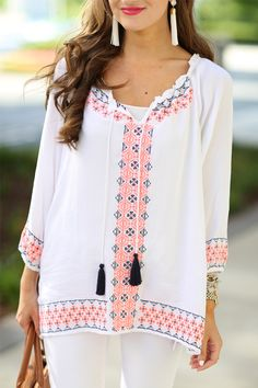Embroidery doesn't always have to be blue & white. Try it in different colors to mix up your wardrobe!