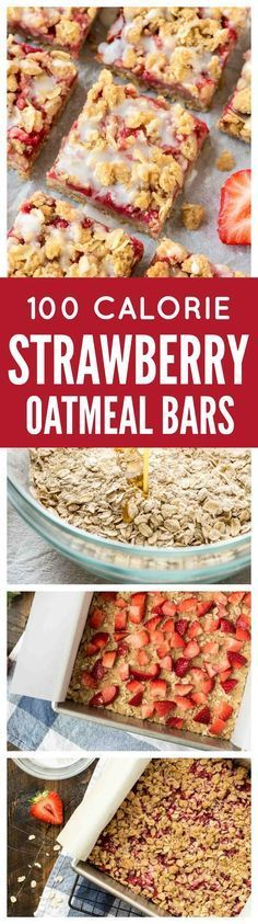 These buttery Strawberry Oatmeal Bars are only 100 CALORIES EACH!! With a buttery crust, sweet strawberry filling, and delicious crumb topping, they make wonderful dessert bars to take to a party or potluck but are healthy enough for a snack. So easy even kids can make them! Recipe from http://wellplated.com /wellplated/