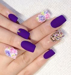 Floral purple matte nails
