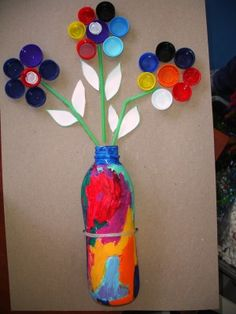 Artistic Ways to Recycle Bottle Caps, Recycled Crafts for Kids - Cool Crafts 😎 Water Bottle Crafts, Plastic Bottle Crafts, Bottle Cap Crafts, Plastic Bottles, Water Bottles, Plastic Art, Diy Bottle, Water Bottle Art, Water Bottle Flowers