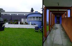 Facade (left) and corridor detail (right) of Arne Korsmo's Villa Dammann (1932) Oslo, Norway