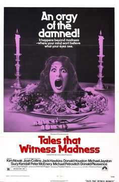 "Movie Poster for the portmanteau horror film ""Tales that Witness Madness"" (1973), directed by Freddie Francis and starring Kim Novak and Joan Collins"