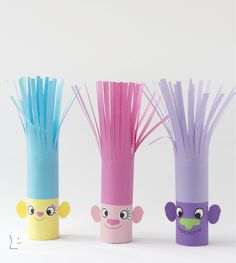 Craft your own Trolls - of tow rolls! - Pysselbolaget - Fun Easy Crafts for Kids and Parents Easy Crafts For Kids, Toddler Crafts, Preschool Crafts, Projects For Kids, Diy For Kids, Fun Crafts, Diy And Crafts, Craft Projects, Arts And Crafts