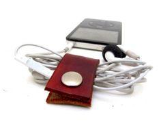 Burnt Orange Leather Phone Cable Organizer