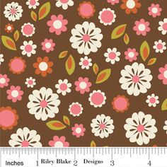 Indian Summer Brown Floral Flannel Half Yard-brown floral flannel fabric, fabrics4u2, Riley blake flannel, Melbourne fabric shop, fabric on the Gold Coast, cars fabric