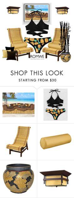 """Pineapple Print Bikini Set - ROMWE 3"" by silviaracchi ❤ liked on Polyvore featuring Miseno, Improvements, Hinkley Lighting and Tropitone"