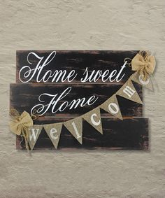 'Home Sweet Home' Wall Sign, Welcome Sign, Wall Art, Rustic Home Decor  #affiliate #farmhouse