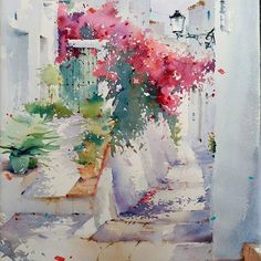 Oil painting - the living art! Watercolor Scenery, Watercolor Landscape, Watercolor And Ink, Watercolour Painting, Landscape Art, Watercolor Flowers, Landscape Paintings, Watercolours, Painting Inspiration