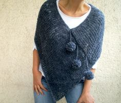 Knit Poncho Scarf with Pom pom  Dark Blue Gray Grey by bysweetmom, $59.00