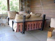 Swinging Porch Bed! @Genevieve Sullivan This is like a mix between the opium bed, a hammock, and a swing :)