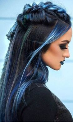 Long haircuts are always in style and so versatile. Long layered hair styles all… Long haircuts are always in style and so versatile. Long layered hair styles allow for a lot of diversity when it comes to styling them. We… Continue Reading → Caring For Colored Hair, Coloured Hair, Blue Ombre Hair, Blue Hair Colors, Hair Colours 2018, Pink And Black Hair, Blue Black Hair Color, Dark Blue, Lip Colours