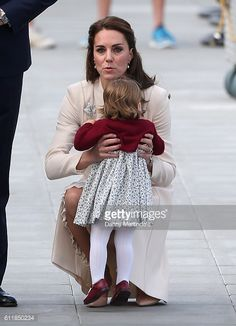 Catherine Duchess of Cambridge and Princess Charlotte of Cambridge are seen leaving at Victoria Harbour Airport for there offical farewell on October...