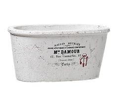 Macetero de cemento, blanco - grande
