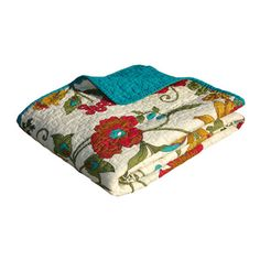 "Clearwater Quilted Throw | Overstock.com $36.49 Red, turquoise, olive & gold -- 50"" x 60"""